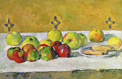 Table Cloth Painting - Apples And Biscuits by Paul Cezanne