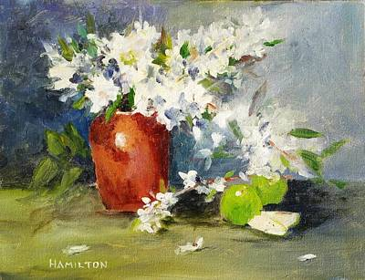 Painting - Apples And Blossoms by Larry Hamilton