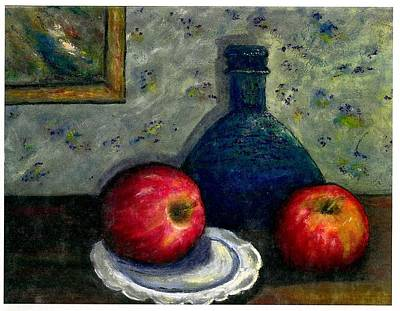 Art Print featuring the painting Apples And Bottles by Gail Kirtz