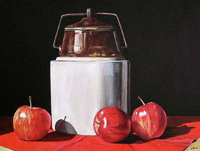 Apples And Crock Print by Lillian Bell