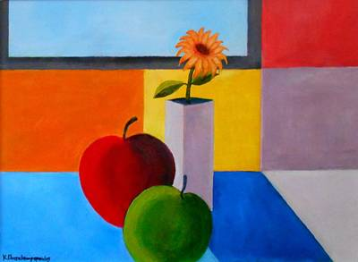Painting - Apples And Flower by Konstantinos Charalampopoulos
