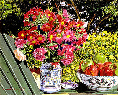Crockery Painting - Apples And Flowers by David Lloyd Glover