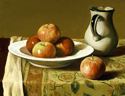 Painting - Apples And Indian Bedspread by Robert Holden