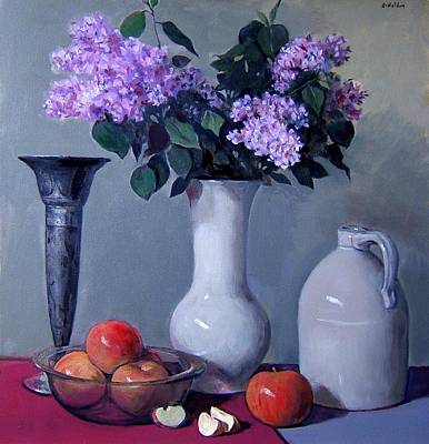 Painting - Apples And Lilacs, Silver Vase, Vintage Stoneware Jug by Robert Holden