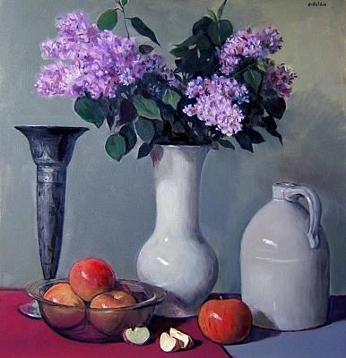 Apples And Lilacs,silver Vase,vintage Stoneware Jug Art Print