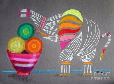 Drawing - Apples And Oranges And Elephants, Oh My -- Whimsical Still Life W/ Elephant by Jayne Somogy