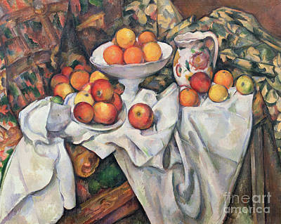 Drape Painting - Apples And Oranges by Paul Cezanne