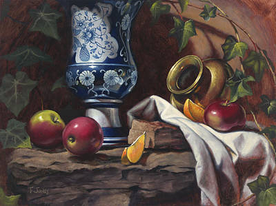 Brass Leafs Painting - Apples And Oranges by Timothy Jones