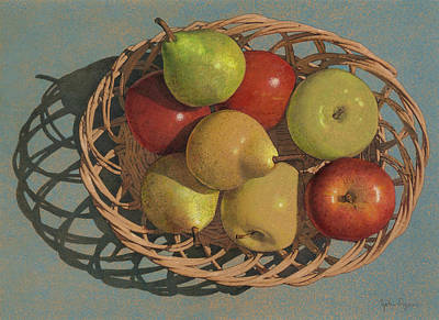 Painting - Apples And Pears In A Wicker Basket  by John Dyess