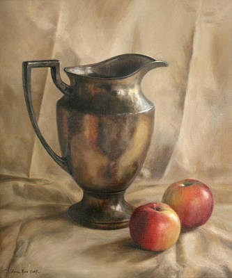 Apples And Pitcher Print by Anna Rose Bain