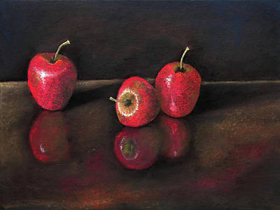 Glass Table Reflection Painting - Apples And Reflections by Nirdesha Munasinghe