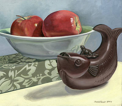 Painting - Apples And Teapot by Arlene Kelley