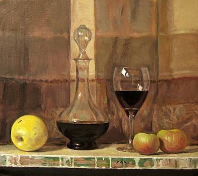 Painting - Apples And Wine,vintage Decanter by Robert Holden