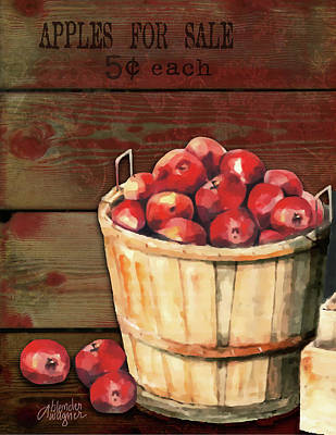 Apples For Sale Art Print by Arline Wagner