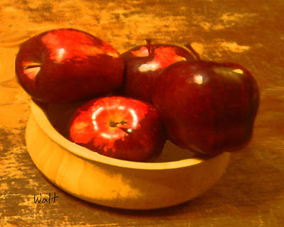 Print featuring the digital art Apples In A Bowl by Walter Chamberlain
