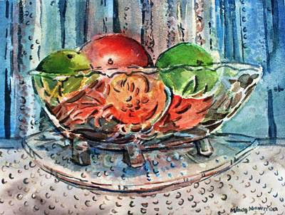 Painting - Apples In A Glass Bowl by Mindy Newman