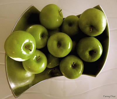 Apples In A Silver Vase 2 Art Print by Fanny Diaz