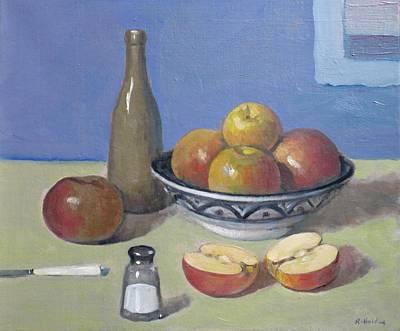 Apples In Moroccan Bowl, Salt Shaker And Vintage Bottle Art Print