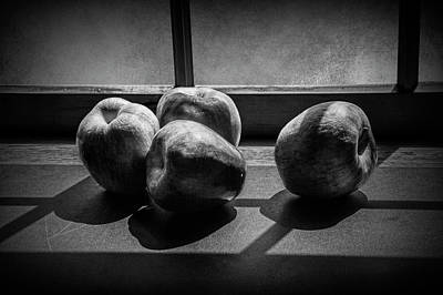 Photograph - Apples In The Sun Light By The Window In Black And White by Randall Nyhof