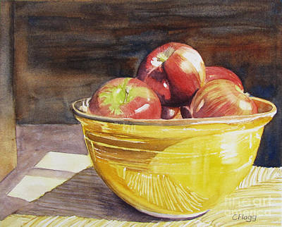Painting - Apples In Yellow Bowl by Carol Flagg