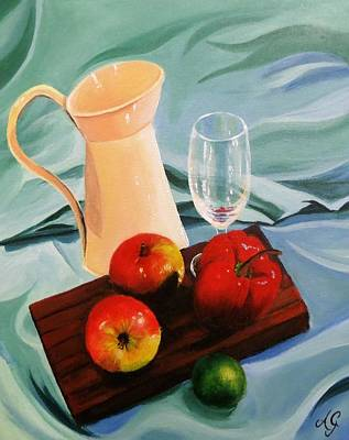 Painting - Apples, Lime And Capsicum by Anne Gardner