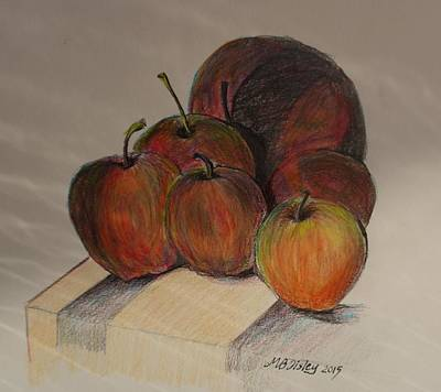 Drawing - Apples by Maria  Disley