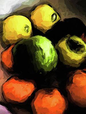 Digital Art - Apples Of Yellow And Green With Orange Mandarins by Jackie VanO