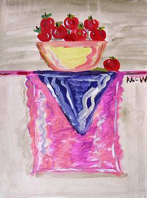Art Print featuring the painting Apples On Table With Colorful Scarf by Mary Carol Williams