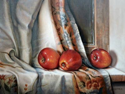 Painting - Apples On The Windowsill by William Albanese Sr