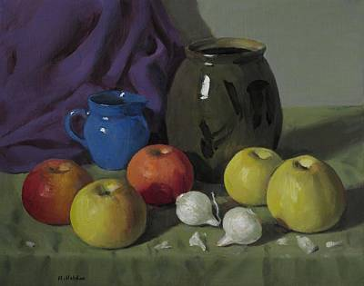 Painting - Apples, Pearl Onions And Pottery by Robert Holden