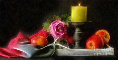 Photograph - Apples Rose And Candle by Ian Mitchell