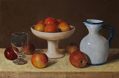 Apples, Wine Glass And Porcelain Pitcher Art Print