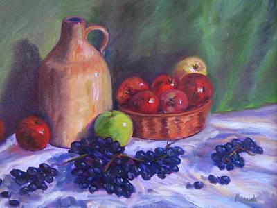 Apples With Grapes Art Print by Richard Nowak