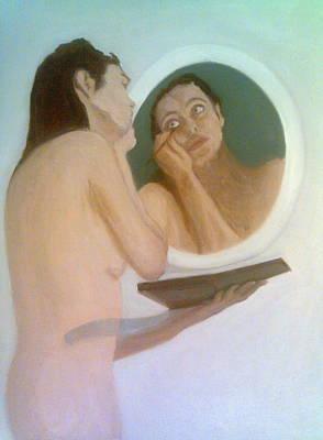 Painting -  Applying Eye-liner, Looking In The Mirror by Peter Gartner