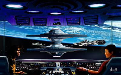 Rocketship Digital Art - Approach To Star City by Bill Wright