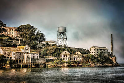 Approaching Alcatraz Island And Water Tower  Art Print by Jennifer Rondinelli Reilly - Fine Art Photography