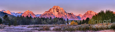 Photograph - Approaching Oxbow Bend Frosty Fall Panorama by Adam Jewell