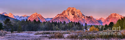 Photograph - Approaching Oxbow Bend Frosty Sunrise Panorama by Adam Jewell