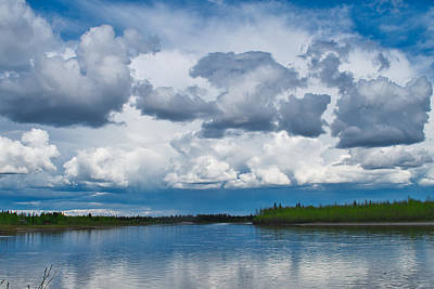 Photograph - Approaching Rain- Dark Clouds Over The Tanana by Cathy Mahnke
