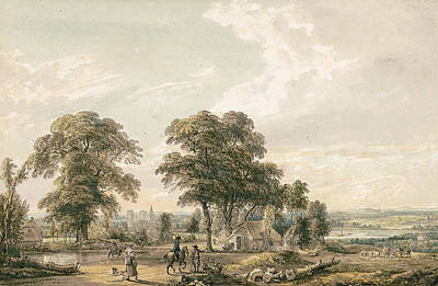 Painter And Dog Painting - Approaching Rochester And The Medway by Paul Sandby
