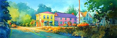 Small Town Painting - Approaching The Four Way Stop by Virgil Carter