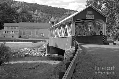 Photograph - Approaching The St. Mary Covered Bridge Black And White by Adam Jewell