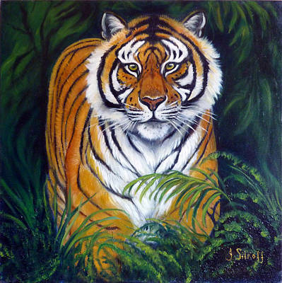 Approaching Tiger Art Print by Janet Silkoff