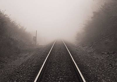 Photograph - Approaching Train In Fog by Dan Sproul