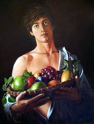 Painting - Apres Caravaggio - Garcon Avec Le Panier Du Fruit by RB McGrath