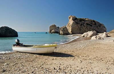 Photograph - Aprhodite's Rock And Boat by Jeremy Voisey
