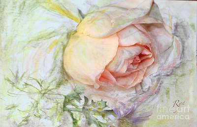 Painting - Apricot Nectar Rose With Michaelmas Daisy by Ryn Shell