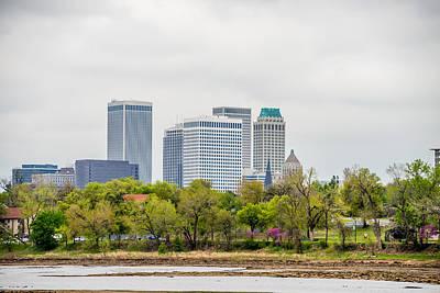 April 2015 - Stormy Weather Over Tulsa Oklahoma Skyline Art Print by Alex Grichenko