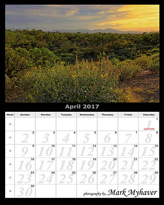 Photograph - April 2017 Calendar by Mark Myhaver