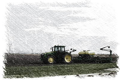 Machine Quilt Photograph - April Farming On The John Deere Pa by Thomas Woolworth